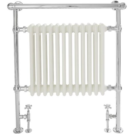 Milano Elizabeth - 930mm x 790mm Traditional Heated Towel Rail Radiator with Cast Iron Style Insert and Overhanging Rail – Chrome and White