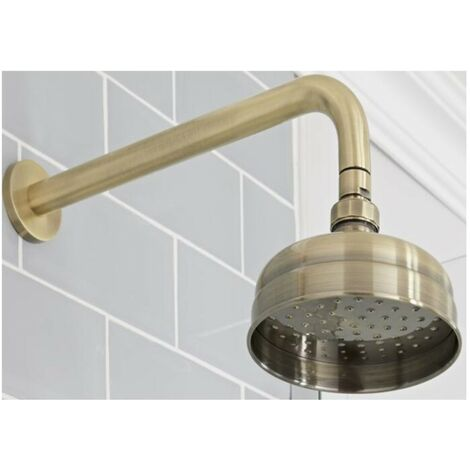 Milano Elizabeth - Traditional 150mm Round Fixed Apron Shower Head with Wall Mounted Arm - Brushed Gold