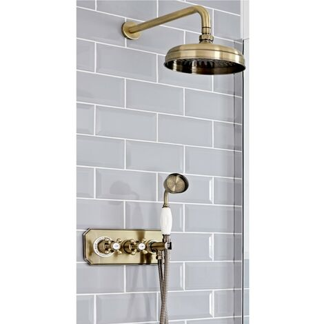 Milano Elizabeth - Traditional 2 Outlet Twin Diverter Thermostatic Shower Valve with 200mm Round Shower Head & Hand Shower Handset - Brushed Gold