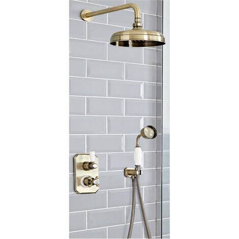 """main image of """"Milano Elizabeth - Traditional 2 Outlet Twin Diverter Thermostatic Shower Valve with Hand Shower Handset & 205mm Round Shower Head - Brushed Gold"""""""