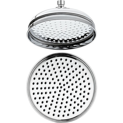 Milano Elizabeth - Traditional 200mm Round Fixed Apron Rainfall Shower Head - Chrome
