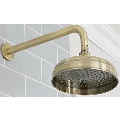 Milano Elizabeth - Traditional 200mm Round Fixed Apron Shower Head with Wall Mounted Arm - Brushed Gold