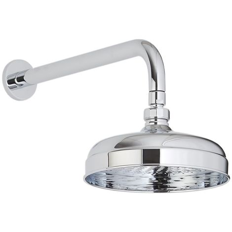 Milano Elizabeth - Traditional 200mm Round Fixed Apron Shower Head with Wall Mounted Arm - Chrome
