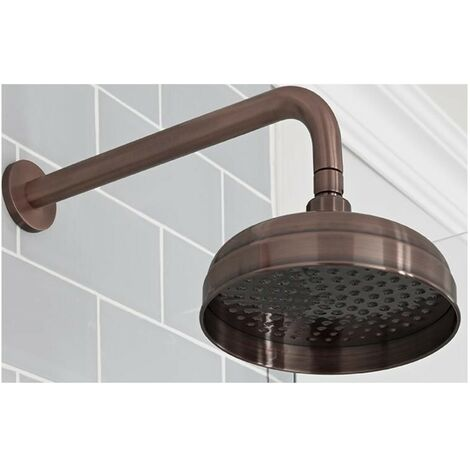 Milano Elizabeth - Traditional 200mm Round Fixed Apron Shower Head with Wall Mounted Arm - Oil Rubbed Bronze