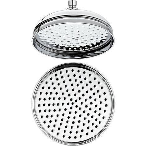 Milano Elizabeth - Traditional 205mm Round Fixed Apron Rainfall Shower Head - Chrome