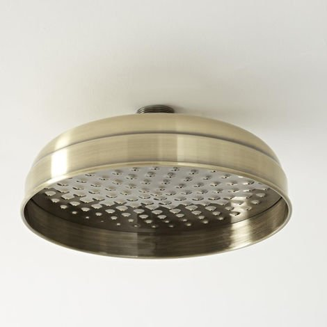 Milano Elizabeth - Traditional 205mm Round Fixed Apron Shower Head - Brushed Gold
