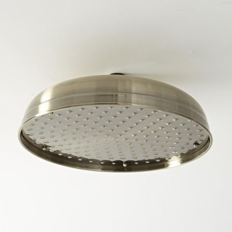Brushed Gold Traditional 200mm Round Fixed Apron Rainfall Shower Head Milano Elizabeth