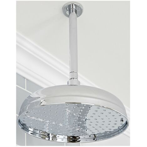 Milano Elizabeth - Traditional 300mm Round Fixed Apron Shower Head with Ceiling Mounted Arm - Chrome