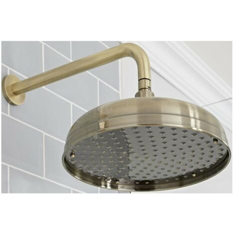 Milano Elizabeth - Traditional 300mm Round Fixed Apron Shower Head with Wall Mounted Arm - Brushed Gold