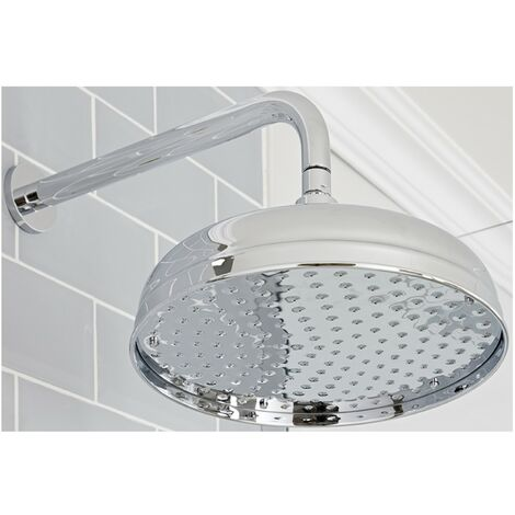 Milano Elizabeth - Traditional 300mm Round Fixed Apron Shower Head with Wall Mounted Arm - Chrome