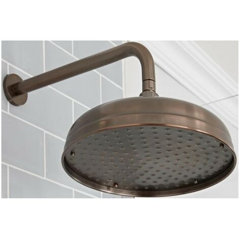 Milano Elizabeth - Traditional 300mm Round Fixed Apron Shower Head with Wall Mounted Arm - Oil Rubbed Bronze