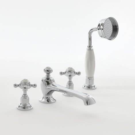 Milano Elizabeth - Traditional 4 Tap-Hole Bath Shower Mixer with Crosshead Handles - Chrome and White