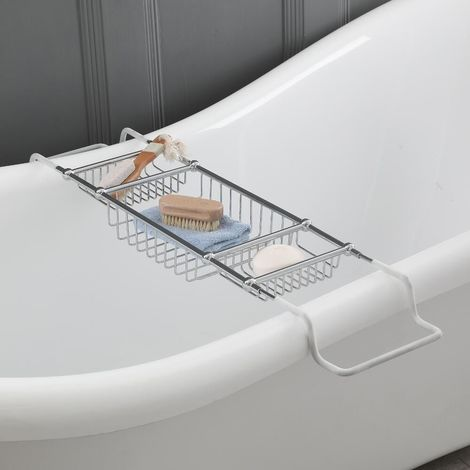 Milano Elizabeth - Traditional Adjustable Bathroom Bath Rack - Chrome
