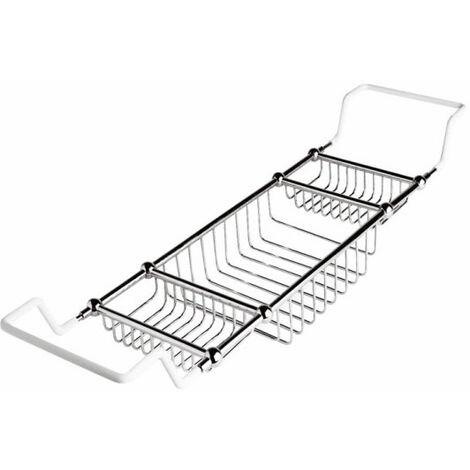 Milano Elizabeth - Traditional Adjustable Bathroom Storage Bath Rack with Chrome Finish for Freestanding Baths