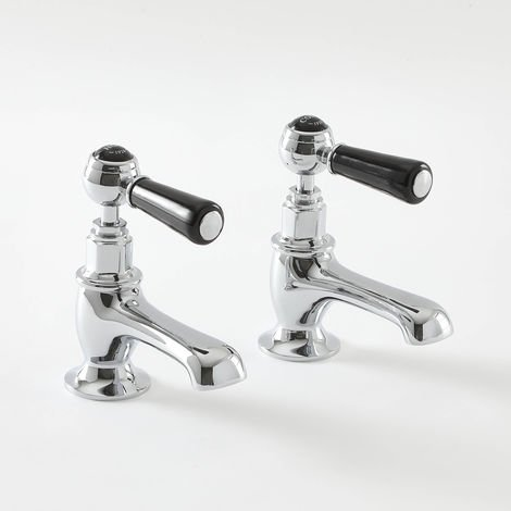 Milano Elizabeth - Traditional Basin Pillar Taps with Lever Handles - Chrome and Black