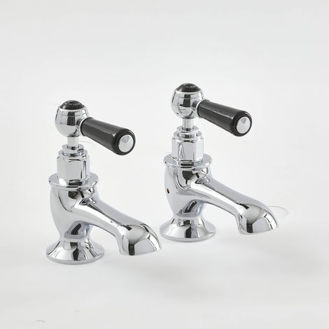 Milano Elizabeth - Traditional Bath Pillar Taps with Lever Handles - Chrome and Black