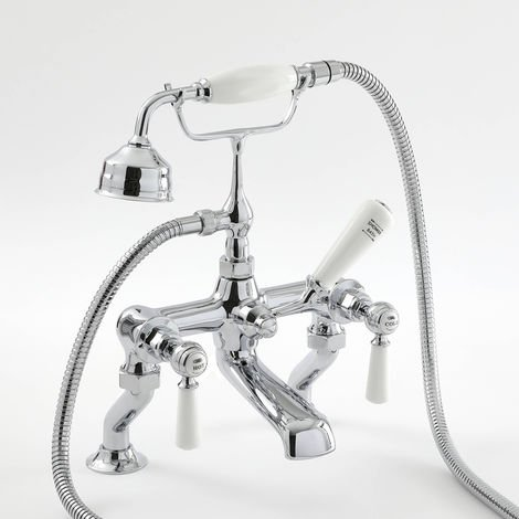 Milano Elizabeth - Traditional Bath Shower Mixer Tap with Lever Handles - Chrome and White