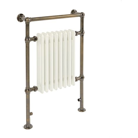 Milano Elizabeth - Traditional Brushed Brass Electric Heated Towel Rail Radiator - 930mm x 620mm