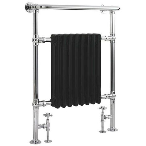 """main image of """"Milano Elizabeth - Traditional Chrome and Black Heated Towel Rail Radiator with Overhanging Rail - 960mm x 675mm"""""""