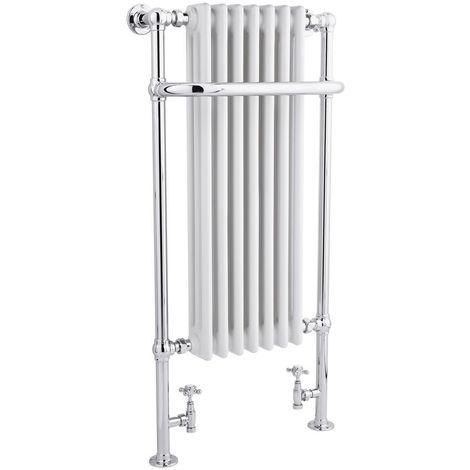 Milano Elizabeth - Traditional Chrome and White Heated Towel Rail Radiator - 1130mm x 553mm