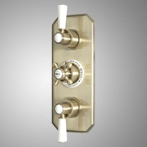 Milano Elizabeth - Traditional Concealed Triple Diverter Thermostatic Shower Valve with 3 Outlets - Brushed Gold