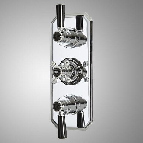 Milano Elizabeth - Traditional Concealed Triple Diverter Thermostatic Shower Valve with 3 Outlets - Chrome & Black