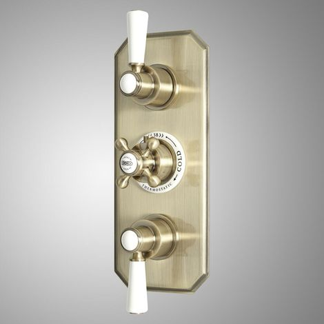 Milano Elizabeth - Traditional Concealed Triple Thermostatic Shower Valve with 2 Outlets - Brushed Gold