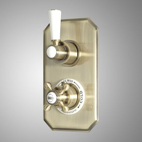 Milano Elizabeth - Traditional Concealed Twin Diverter Thermostatic Shower Valve with 2 Outlets - Brushed Gold