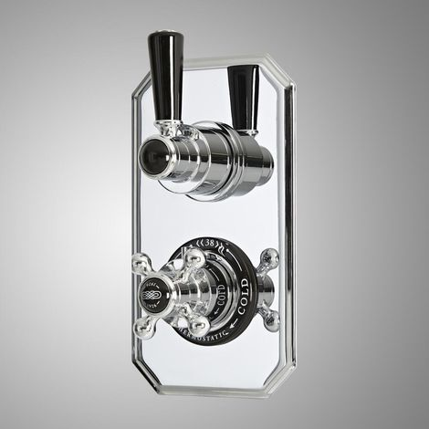 Milano Elizabeth - Traditional Concealed Twin Thermostatic Shower Valve - Chrome & Black