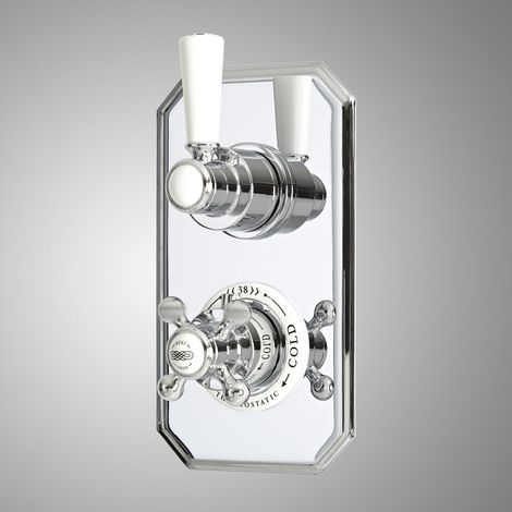 Milano Elizabeth - Traditional Concealed Twin Thermostatic Shower Valve - Chrome & White