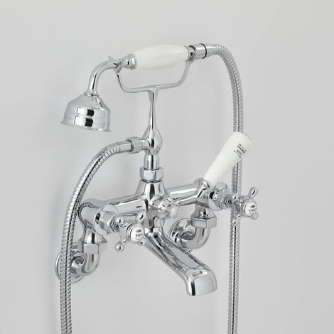 Milano Elizabeth - Traditional Crosshead Wall Mounted Bath Shower Mixer Tap - Chrome and White