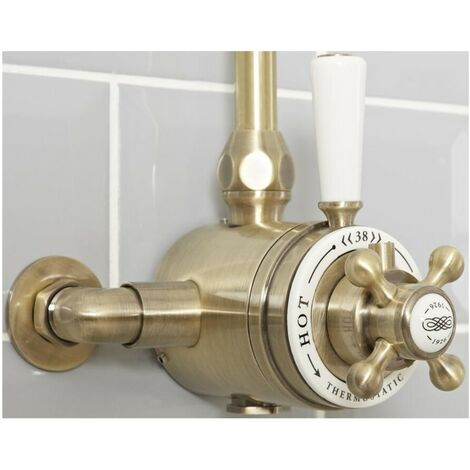 Milano Elizabeth - Traditional Dual Exposed Thermostatic Shower Valve - Brushed Gold