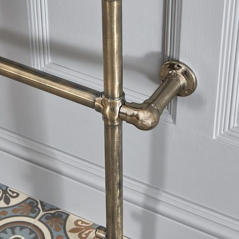 Milano Elizabeth - Traditional Electric Dual Fuel Heated Towel Rail Radiator Element Cable Cover - Brushed Gold