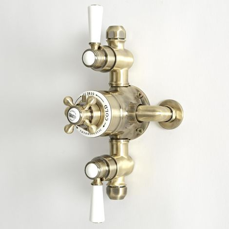 Milano Elizabeth - Traditional Exposed Triple Thermostatic Shower Valve with 2 Outlets - Brushed Gold