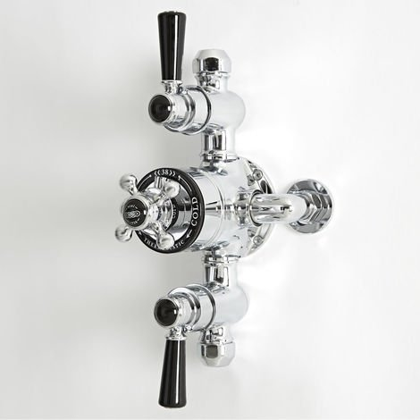 Milano Elizabeth - Traditional Exposed Triple Thermostatic Shower Valve with 2 Outlets - Chrome & Black