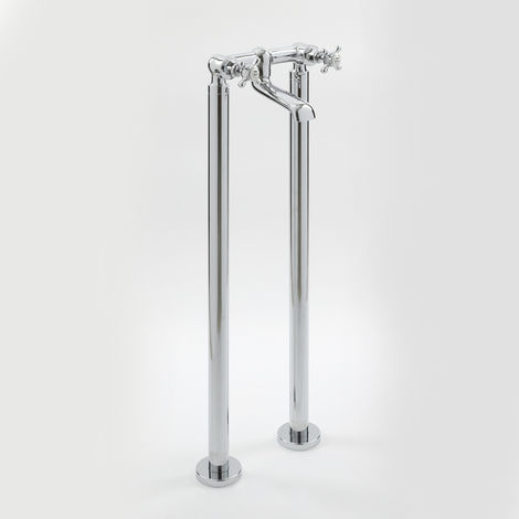 Milano Elizabeth - Traditional Freestanding Bath Filler Mixer Tap with Crosshead Handles - Chrome and White