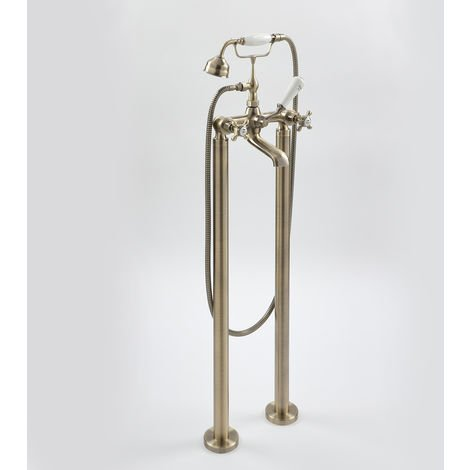 Milano Elizabeth - Traditional Freestanding Bath Shower Mixer Tap with Crosshead Handles - Brushed Gold