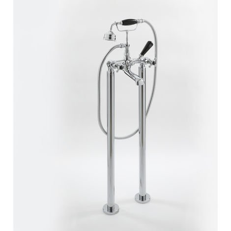 Milano Elizabeth - Traditional Freestanding Bath Shower Mixer Tap with Crosshead Handles - Chrome and Black