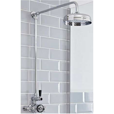 Milano Elizabeth - Traditional Grand Rigid Riser with 1 Outlet Twin Exposed Thermostatic Mixer Shower Valve and Round Rainfall Shower Head - Chrome and Black