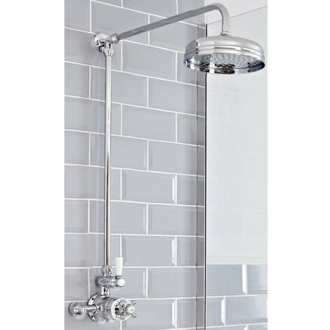 Milano Elizabeth - Traditional Grand Rigid Riser with 1 Outlet Twin Exposed Thermostatic Mixer Shower Valve and Round Rainfall Shower Head - Chrome and White