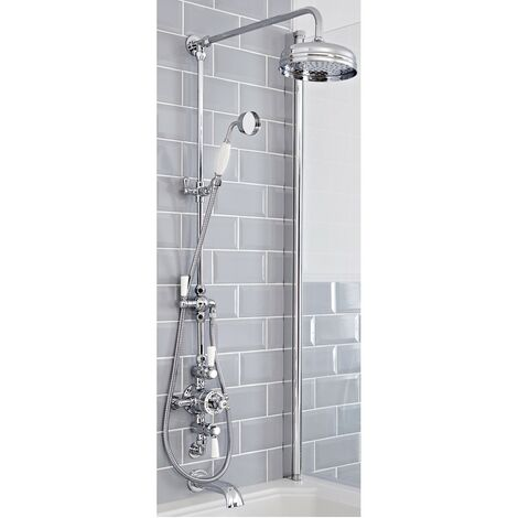 Milano Elizabeth - Traditional Grand Rigid Riser with 3 Outlet Exposed Triple Thermostatic Shower Valve, Round Shower Head, Hand Shower Handset & Wall Mounted Bath Spout - Chrome & White