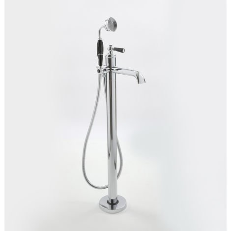 Milano Elizabeth - Traditional Lever Freestanding Lever Bath Shower Mono Mixer - Chrome and Black