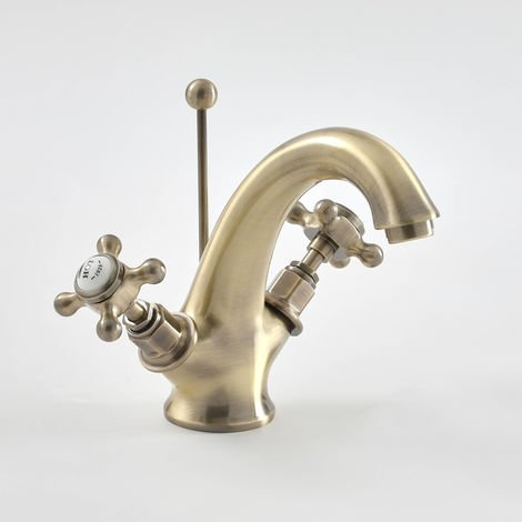 Milano Elizabeth - Traditional Mono Basin Mixer Tap with Crosshead Handles - Brushed Gold