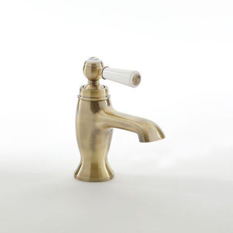 Milano Elizabeth - Traditional Mono Basin Mixer Tap with Lever Handle - Brushed Gold
