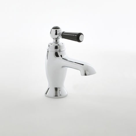 Milano Elizabeth - Traditional Mono Basin Mixer Tap with Lever Handle - Chrome and Black
