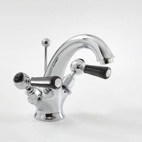 Milano Elizabeth - Traditional Mono Basin Mixer Tap with Lever Handles - Chrome and Black