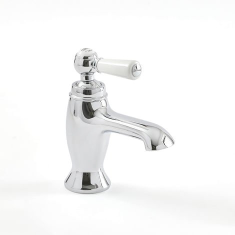 Milano Elizabeth - Traditional Mono Basin Tap with Lever Handle - Chrome and White
