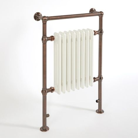 Milano Elizabeth - Traditional Oil Rubbed Bronze and White Heated Towel Rail Radiator - 930mm x 620mm