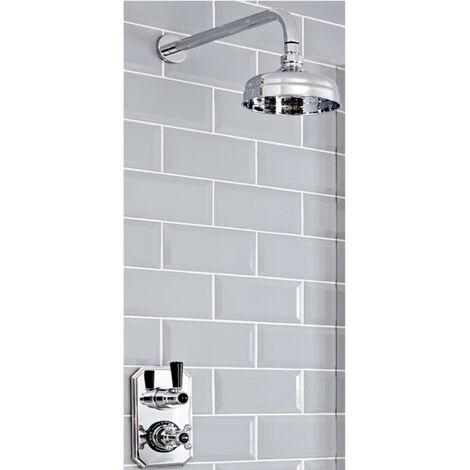 Milano Elizabeth - Traditional Twin Thermostatic Shower Valve with 150mm Round Fixed Shower Head & Wall Mounted Shower Arm - Chrome & Black
