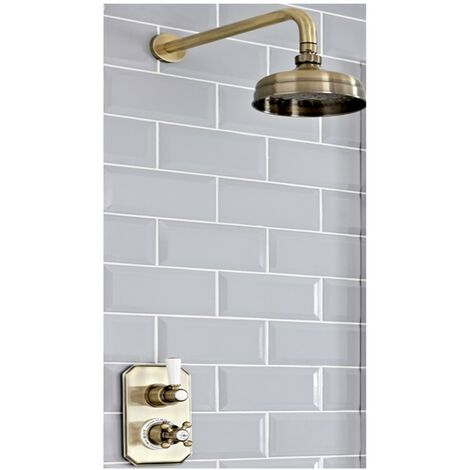 Milano Elizabeth - Traditional Twin Thermostatic Shower Valve with 155mm Round Fixed Shower Head & Wall Mounted Shower Arm - Brushed Gold